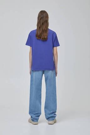 Pull & Bear Kadın Mor Mistik Grafik Görselli  T-shirt 3
