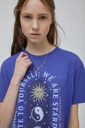 Pull & Bear Kadın Mor Mistik Grafik Görselli  T-shirt 4