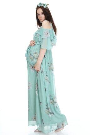 Entarim Kadın Yeşil Çiçek Desenli Maxi Uzun Hamile Elbise 6021-3 3