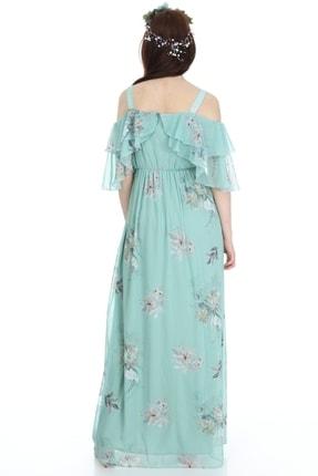 Entarim Kadın Yeşil Çiçek Desenli Maxi Uzun Hamile Elbise 6021-3 4