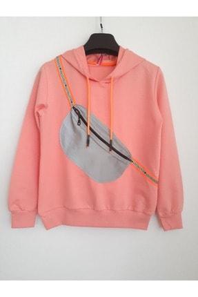 Elvinsa Kız Çocuk Pudra Çantalı Kapüşonlu Mevsimlik Tarz Sweatshirt 0