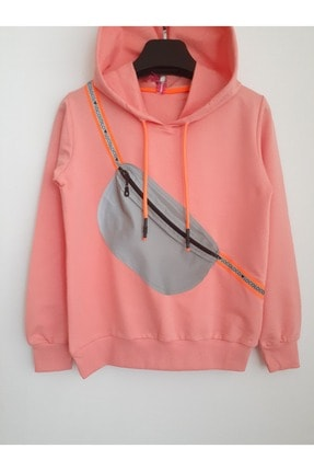 Elvinsa Kız Çocuk Pudra Çantalı Kapüşonlu Mevsimlik Tarz Sweatshirt 2