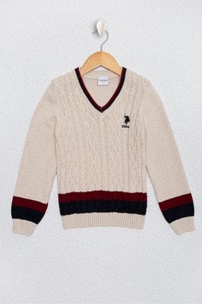 US Polo Assn Beyaz Erkek Çocuk Triko Kazak 0