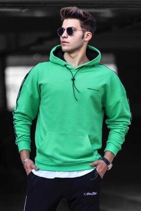 Madmext Erkek Yeşil Basic Kapüşonlu Sweatshirt 4721 0