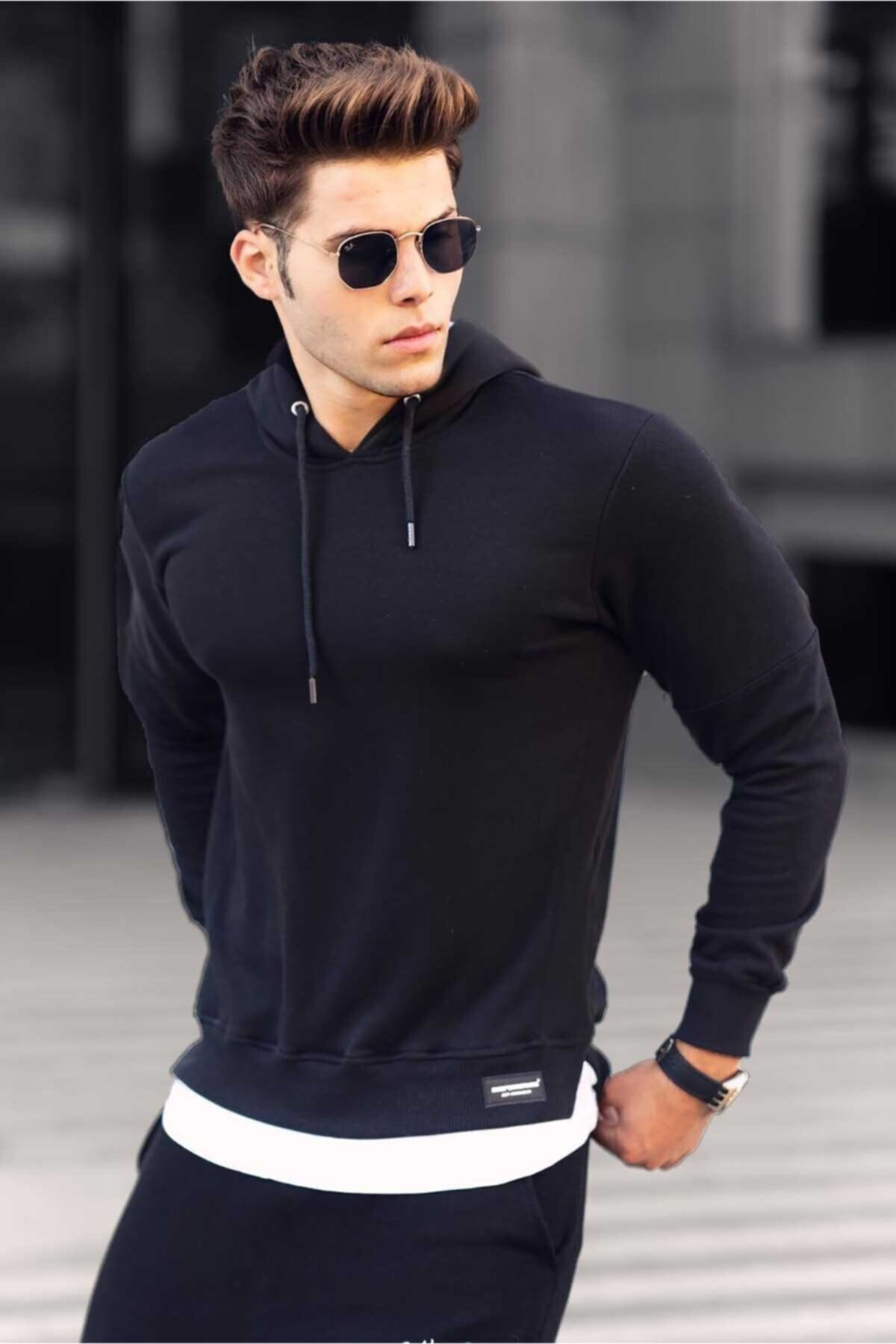 Erkek Siyah Basic  Kapüşonlu Sweatshirt 4696