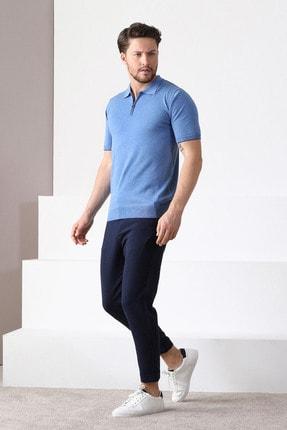 Ferraro Erkek Mavi Havacı Polo Yaka Fermuarlı Pamuk Triko T-Shirt 1