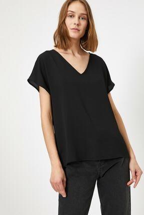 Koton Kadın Siyah V Yaka Bluz 0
