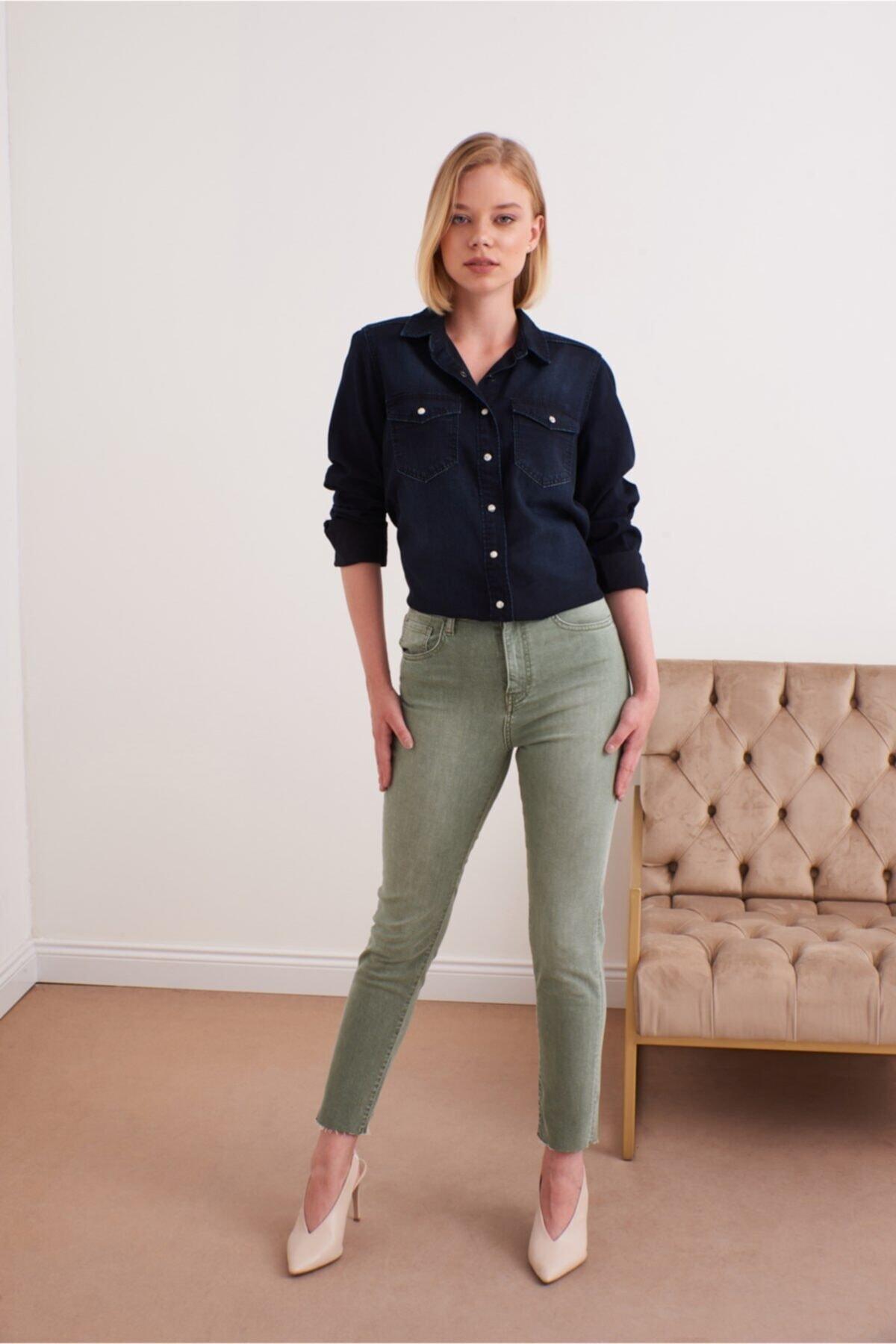 Kadın Melında Kil Yeşili Denim Pantolon