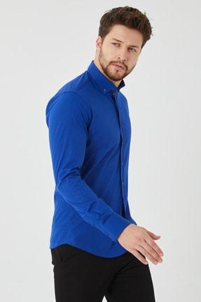 Cosmen Erkek Lacivert Slim Fit Poplin Likralı Gömlek 0