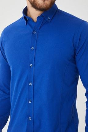 Cosmen Erkek Lacivert Slim Fit Poplin Likralı Gömlek 2