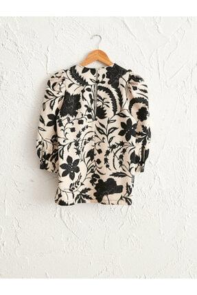 LC Waikiki Kadın Siyah Baskılı Bluz 0WEK86Z8 4