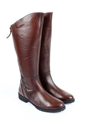GÖNDERİ(R) Gön Hakiki Deri Kahve Kısa Topuk Binici Fermuarlı Günlük Kadın Çizme 44556 1