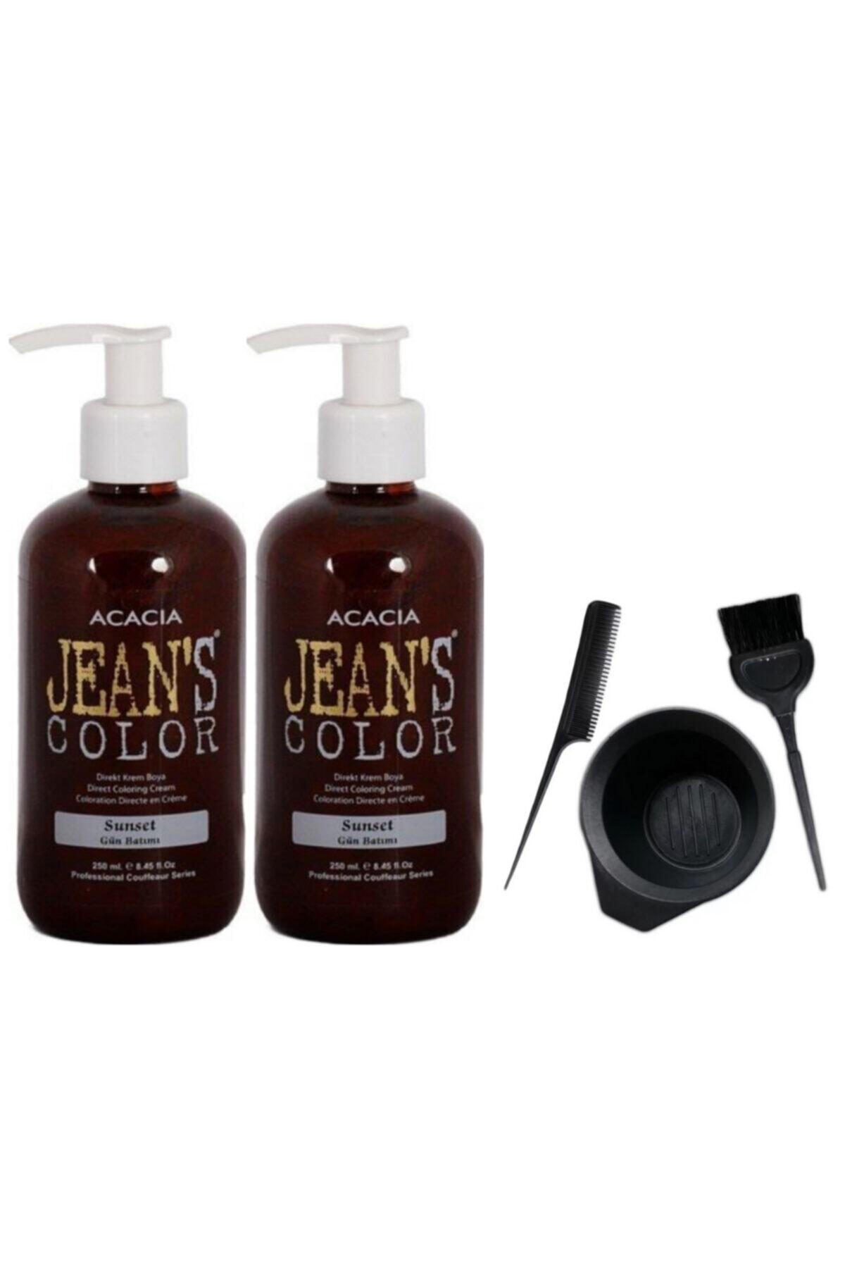 Jeans Color Saç Boyası Gün Batımı 250 ml 2 Adet ve Fluweel Boya Kabı Seti 869900100955758