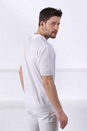 Ferraro Erkek Beyaz Açık Mavi Polo Yaka Desenli Pamuk Triko T-shirt 4