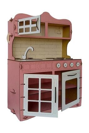 ALFAGAMA Mini Ahşap Çocuk Oyun Mutfağı Tezgah Dolap Seti Evcilik Oyunu Oyuncak Pembe Mutfak 65 cm 1