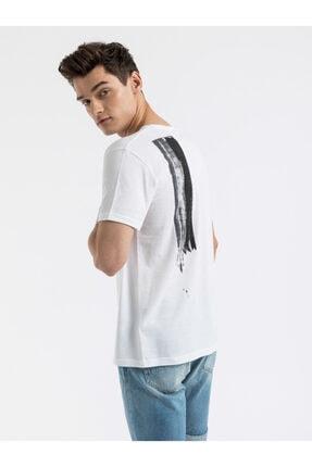 Ltb Erkek  Beyaz  Baskılı  Kısa Kol Bisiklet Yaka T-Shirt 012198454469830000 3