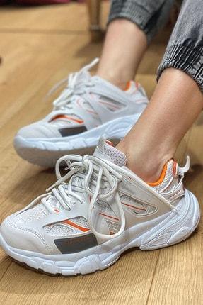 NOVELYA Beyaz Turuncu Çizgili Track Yüksek Taban Unisex Sneakers Ayakkabı 1