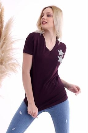 Cotton Mood Kadın Mürdüm Göğsü Yıldız Taşlı Kısa Kol V Yaka Bluz 2