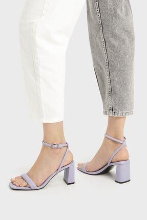 Bershka Kadın Mor Dolgulu Bantlı Topuklu Sandalet 4