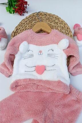ALİSS Kız Bebek Pembe Kalpli Tilki Desenli Kışlık Welsoft Panduflu Bebek Takımı 1