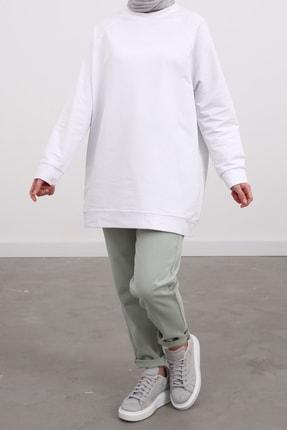 Ekrumoda Kadın Beyaz Reglan Kol Basic Sweat Tunik 2