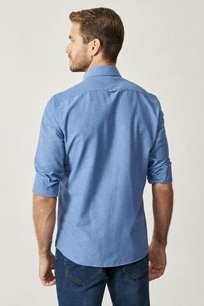 Altınyıldız Classics Erkek K.MAVI Düğmeli Yaka Tailored Slim Fit Oxford Gömlek 4
