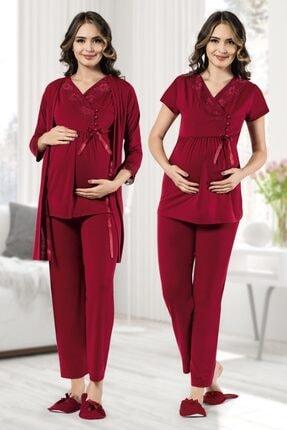 MODAREYA Sabahlıklı Kısa Kollu Lohusa Hamile Bayan Üçlü Pijama Takımı 0
