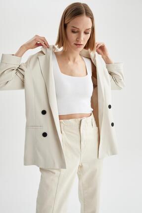 Defacto Kadın Ekru Oversize Fit Blazer Ceket 4