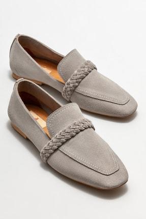 Elle Kadın Gri Deri Loafer Ayakkabı 1