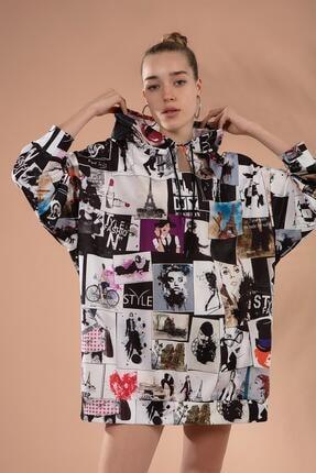 Pattaya Kadın Baskılı Oversize Sweatshirt Elbise P20w-4129 3