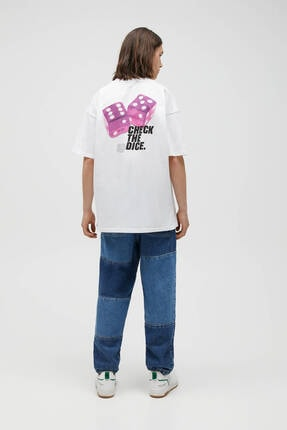 Pull & Bear Erkek Beyaz Zar Görselli T-shirt 3