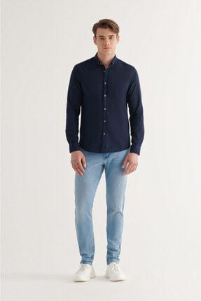 Avva Erkek Lacivert Düz Düğmeli Yaka Slim Fit Uzun Kol Vual Gömlek A11b2206 4