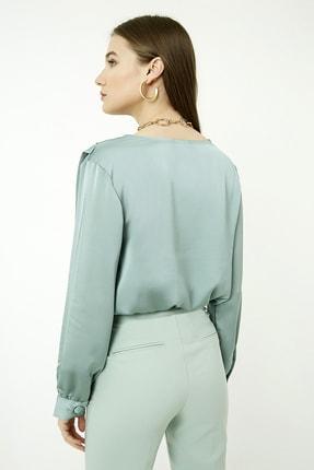 Vis a Vis Kadın Çağla Yeşili Uzun Kol Kruvaze Saten Bodysuit 4