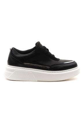 GRADA Kadın Siyah Hakiki Deri Bağcıklı Spor Sneaker Ayakkabı 1
