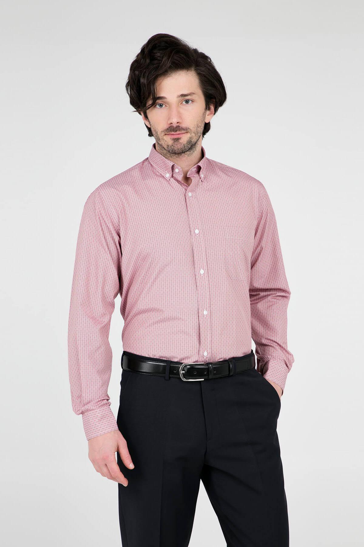 Erkek Kırmızı Uzun Kollu Gömlek - 1Gm91Uk1262R 600