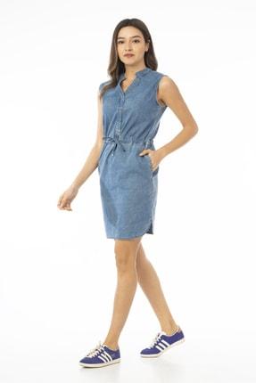 CEDY DENIM Kadın Mavi Kolsuz Midi Kot Elbise Jeans Cb695 1