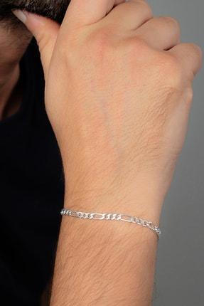 Ventino Silver Erkek Figaro Gümüş Zincir Bileklik Veb-5022 0