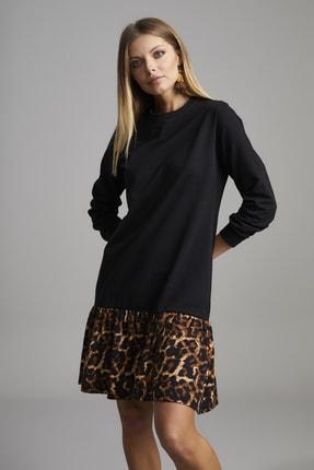 ELBİSENN Kadın Siyah Eteği Leopar Desen Spor Elbise 0