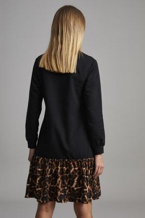 ELBİSENN Kadın Siyah Eteği Leopar Desen Spor Elbise 2