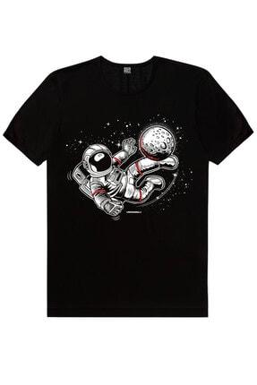 Rock & Roll Erkek Siyah Kaykaycı Astronot,  Siyah Futbolcu Astronot 2'li Eko Paket T-shirt 2