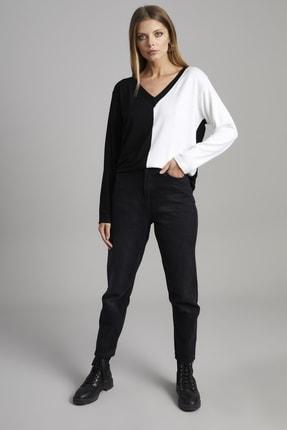 ELBİSENN Kadın Siyah V Yaka Garnili Bluz 4