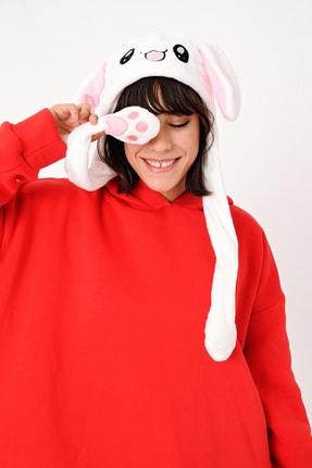 YOYOSO Kadın Beyaz Kulakları Hareket Eden Tavşan Şapka 2