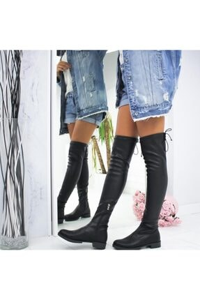İmerShoes Kadın Siyah Dizüstü  Fermuarlı Suni Deri Streç Çizme 1