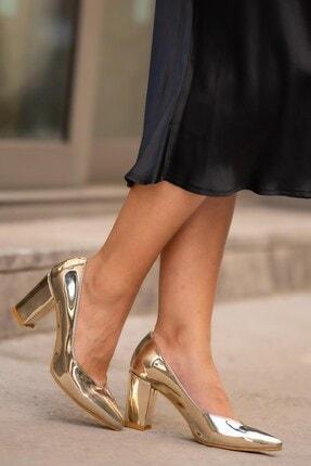 Keira Altın Topuklu Ayakkabı 02040GOC