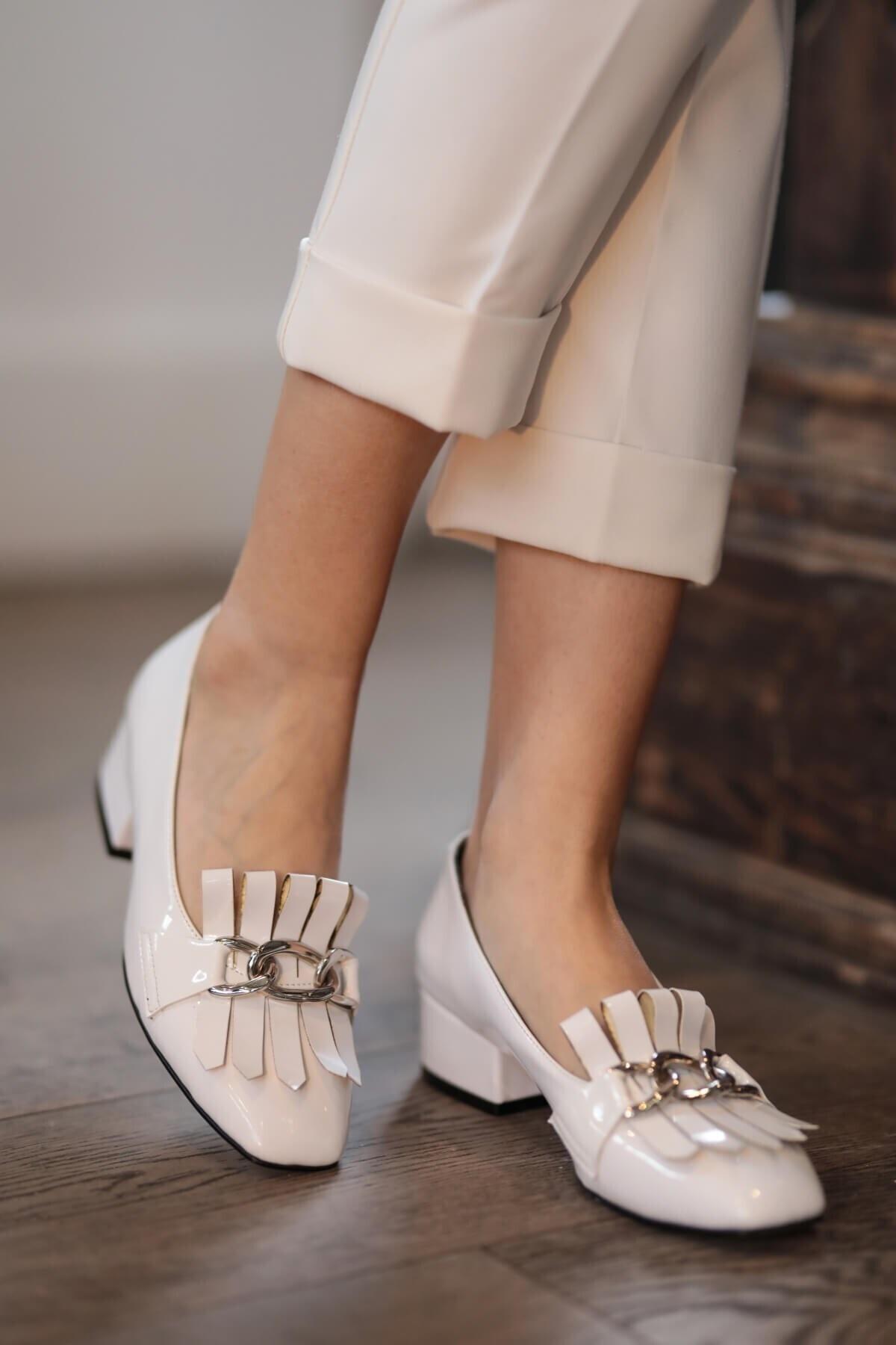 Lottie Beyaz Rugan Topuklu Ayakkabı