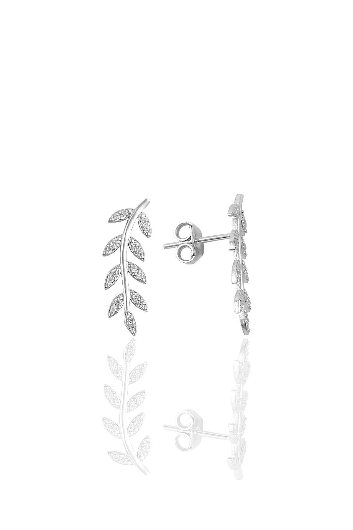 Söğütlü Silver Gümüş Rodyumlu Zirkon Taşlı Yaprak Üçlü Set 1