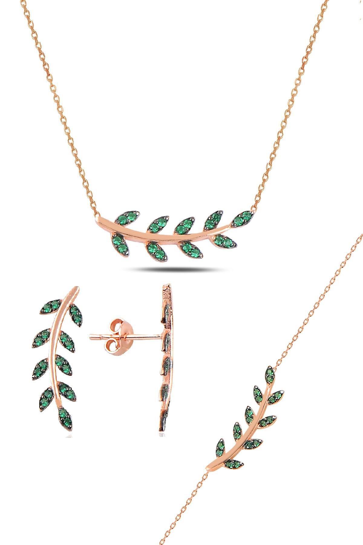 Söğütlü Silver Gümüş rose yeşil  taşlı yaprak  üçlü set 0
