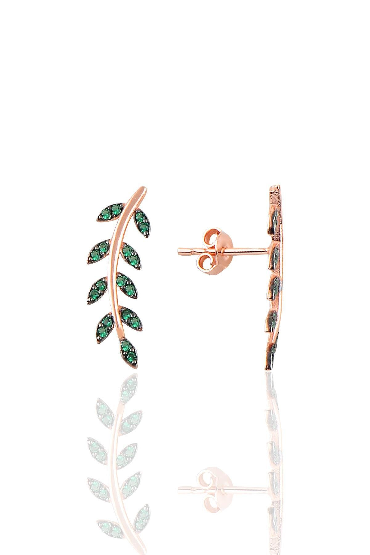 Söğütlü Silver Gümüş rose yeşil  taşlı yaprak  üçlü set 3