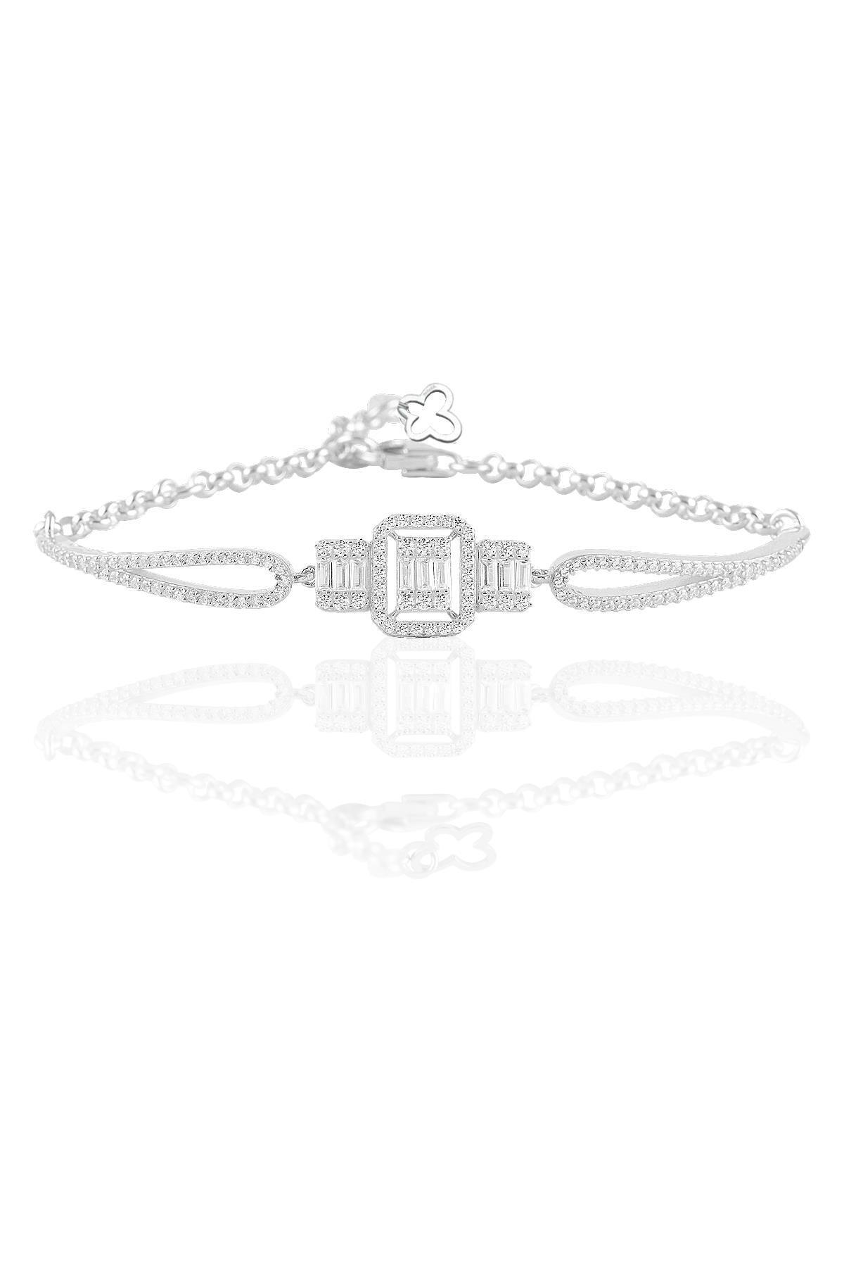 Söğütlü Silver Gümüş rodyumlu baget taşlı  kolye küpe ve bilezik  gümüş set 1