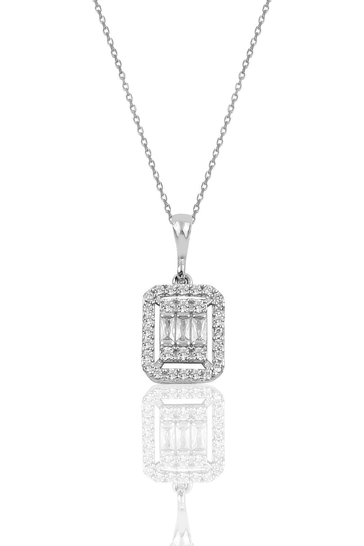 Söğütlü Silver Gümüş rodyumlu baget taşlı  kolye küpe ve bilezik  gümüş set 2